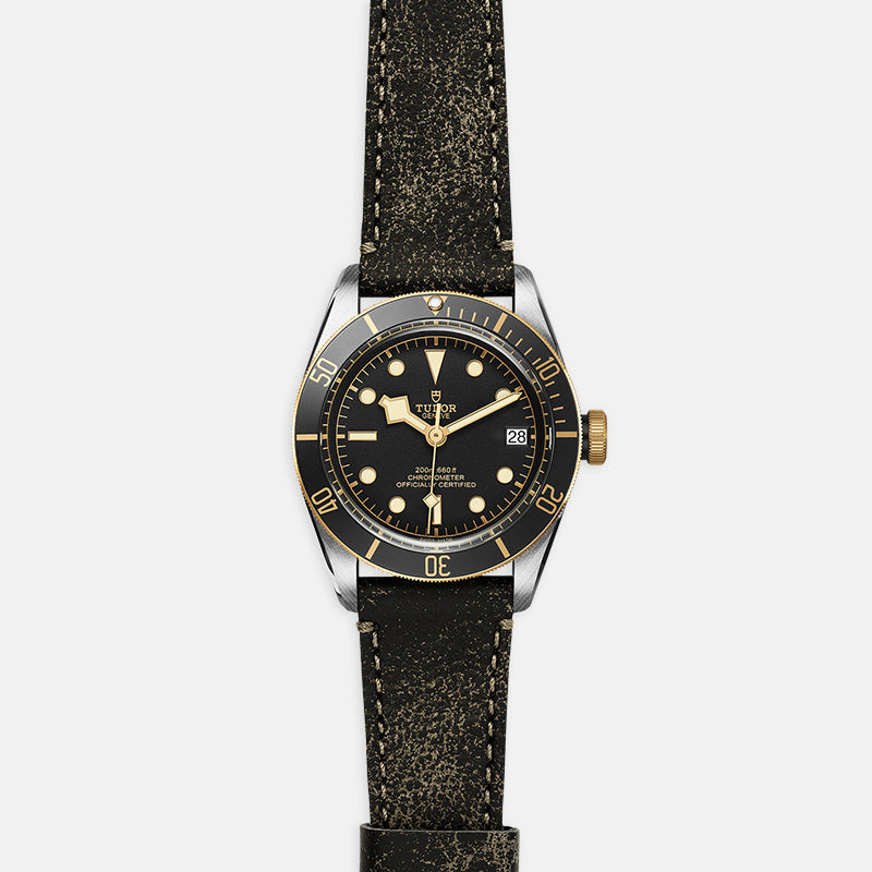 TUDOR Black Bay S&G<br> 41mm Black Dial<br> Aged Leather Bracelet