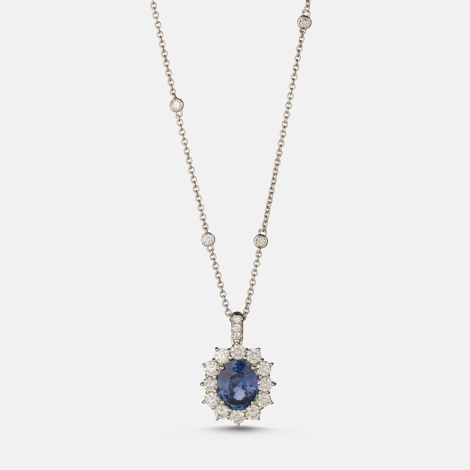 3.39ct Oval Sapphire Pendant,<br> 18ct White Gold Chain