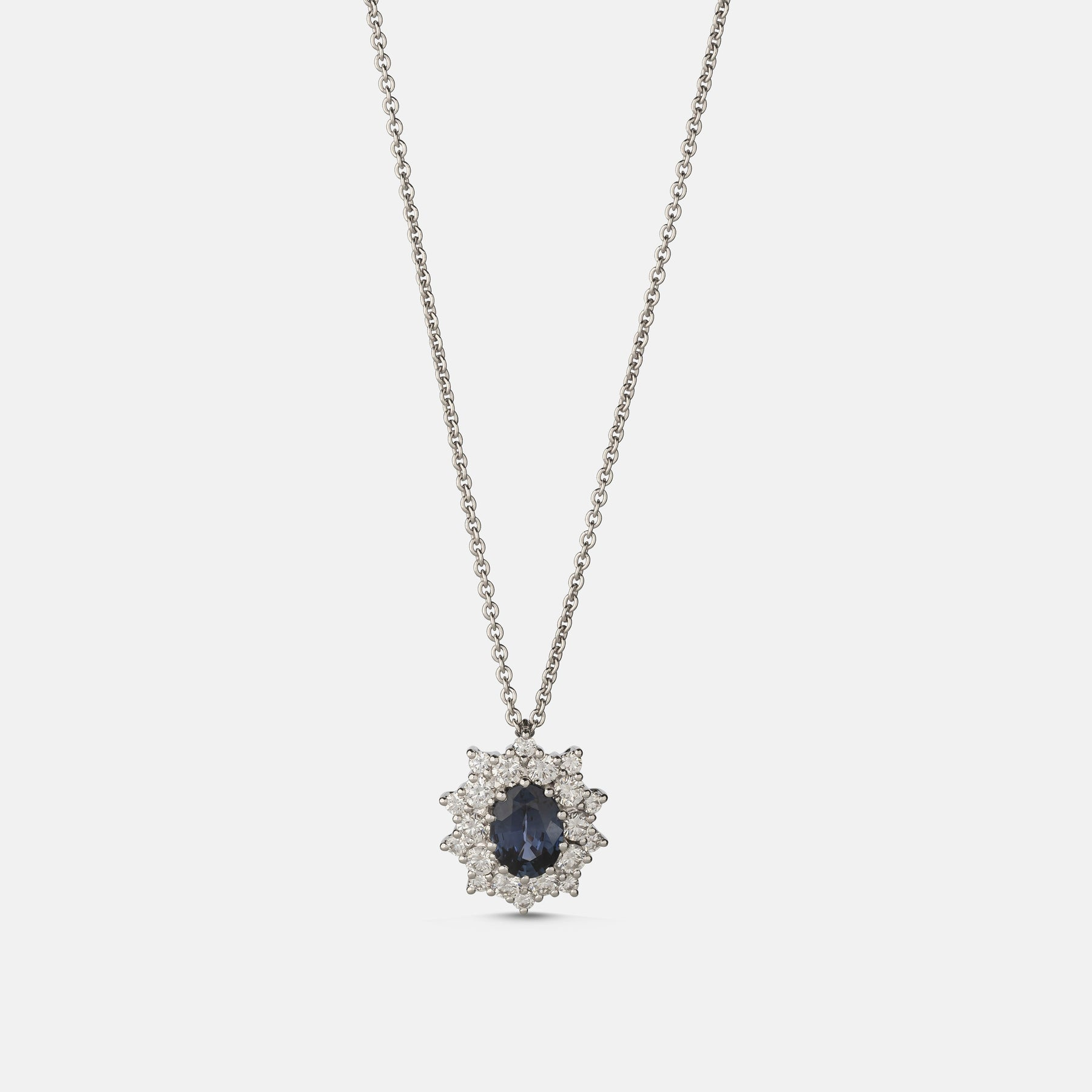1.21ct Oval Sapphire Pendant,<br> 18ct White Gold Chain