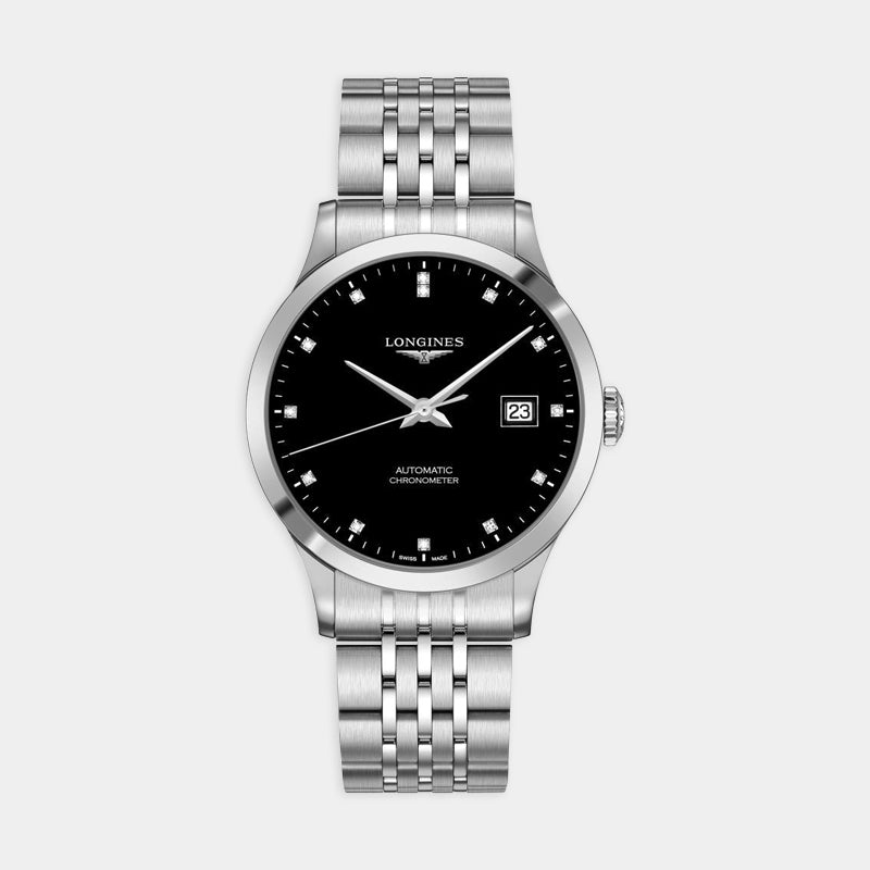 Longines Record Automatic <br> 40mm Black Dial<br> Stainless Steel Bracelet