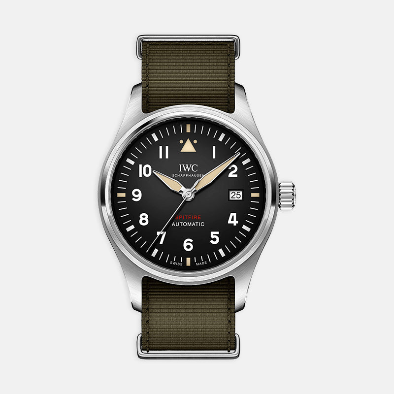 Pilot's Watch Automatic Spitfire<br> 39mm Black Dial<br> Green Textile Strap