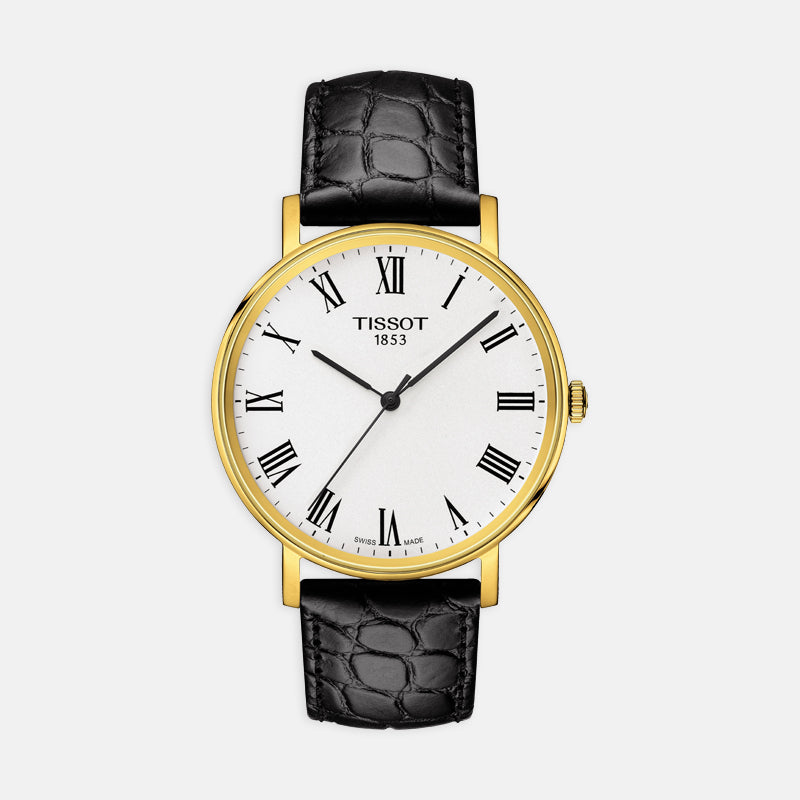 Tissot Everytime Medium<br> 38mm White Dial <br> Black Leather Strap