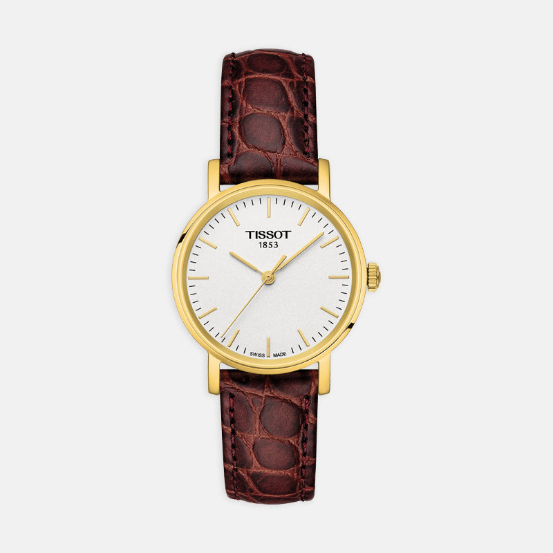 Tissot Everytime Small <br> 30mm Silver Dial Gold Bezel<br> Brown Leather Strap