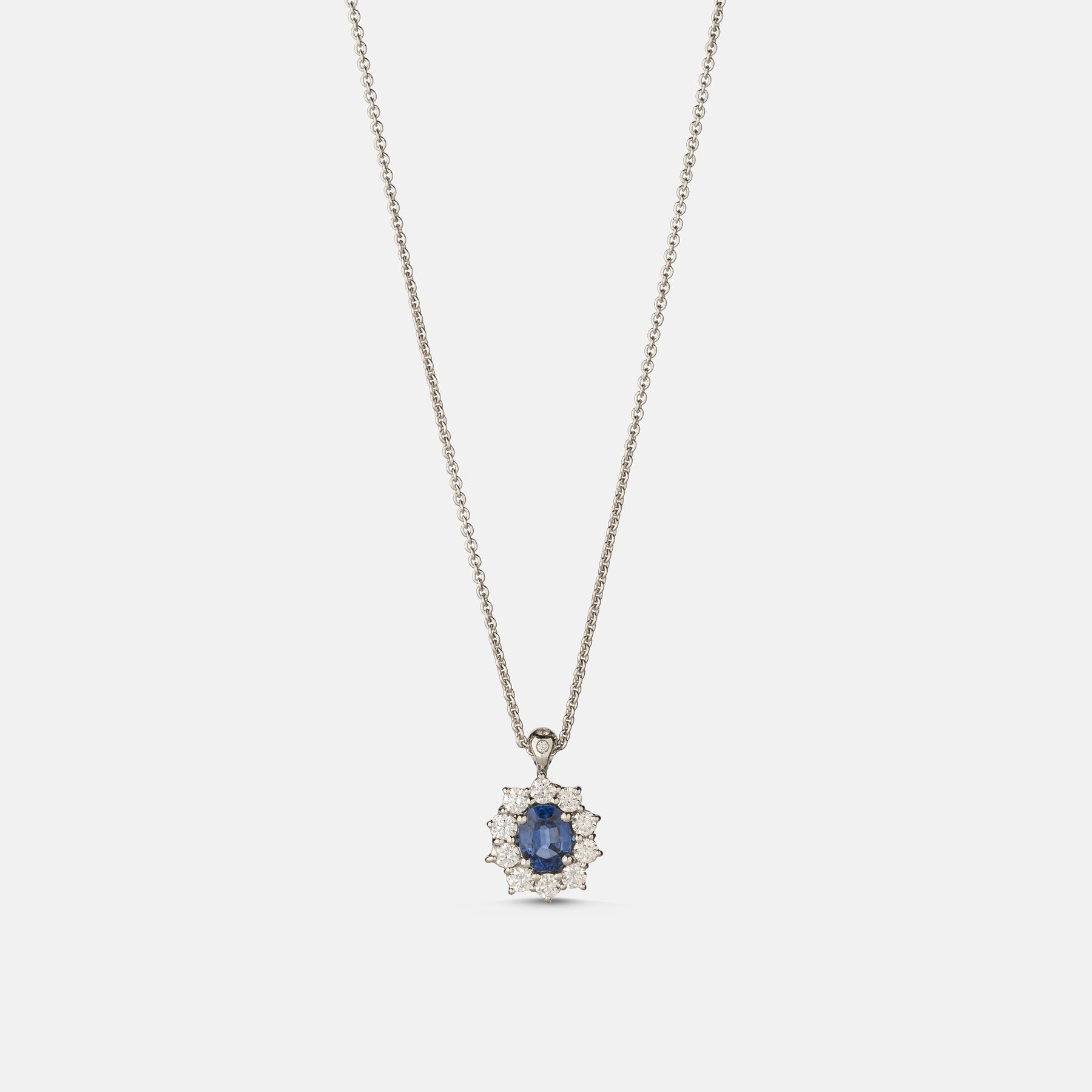 0.88ct Oval Sapphire Pendant,<br> 18ct White Gold Chain