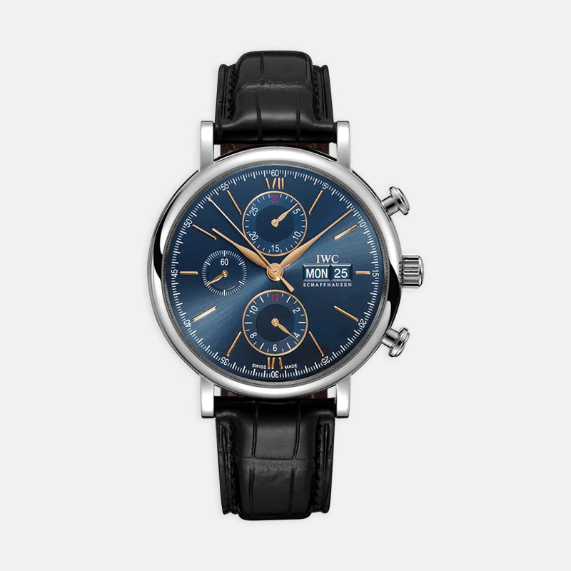 IWC Portofino Chronograph<br> 42mn Blue Dial <br> Black Leather Strap