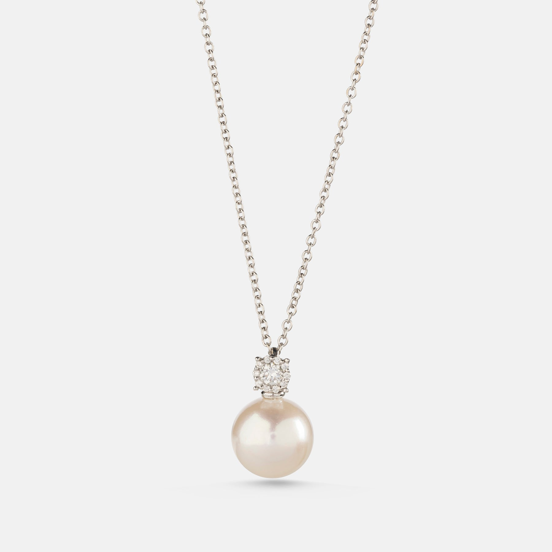 Freshwater Pearl, <br> 0.14ct Diamond Drop Pendant,<br> 18ct White Gold
