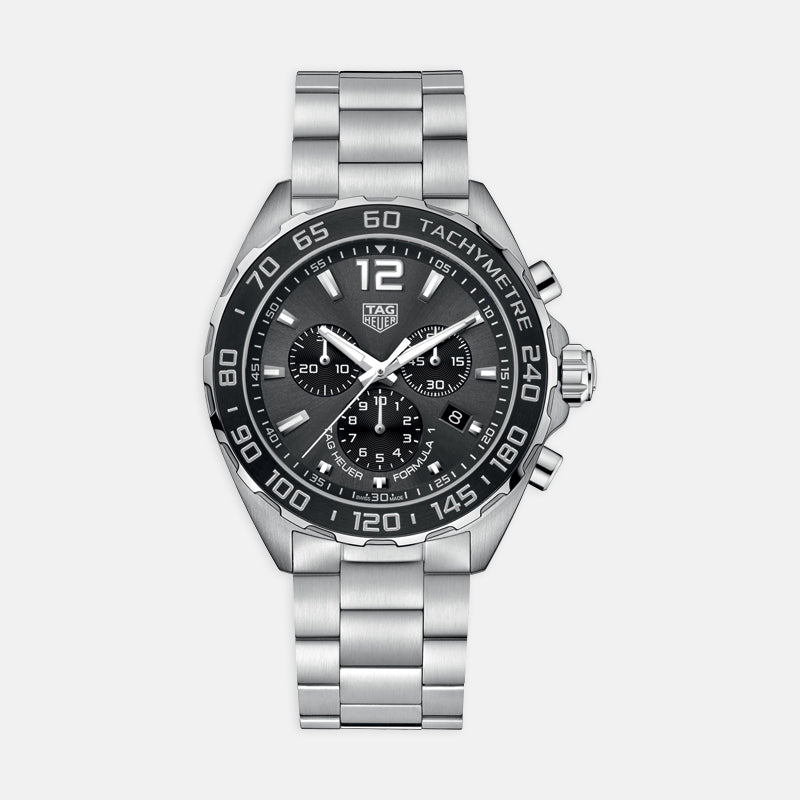 TAG Heuer Formula 1<br> Quartz Chronograph, 43mm, Black Dial<br> Stainless Steel Bracelet