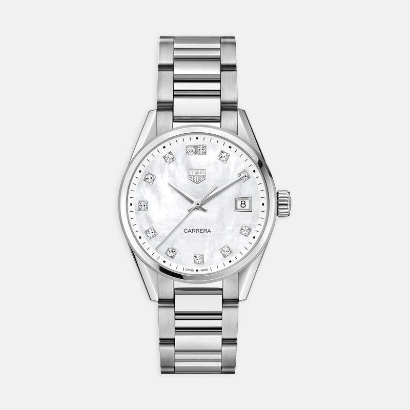 TAG Heuer Carrera<br> Quartz 36mm, Mother of Pearl Dial<br> Stainless Steel Bracelet