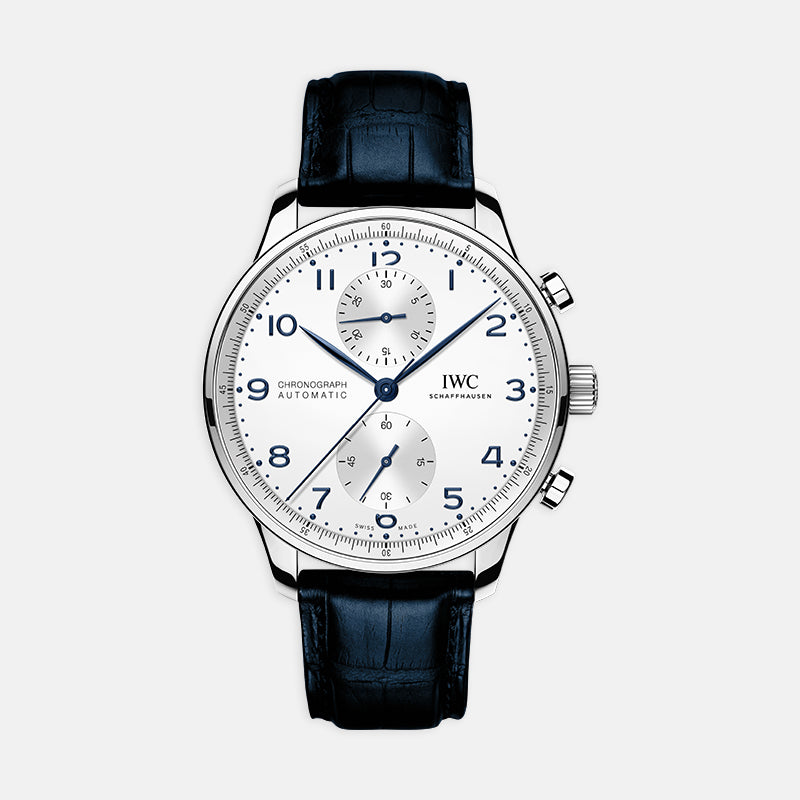 IWC Portugieser Chronograph<br> 41mm White Dial<br> Blue Leather Strap