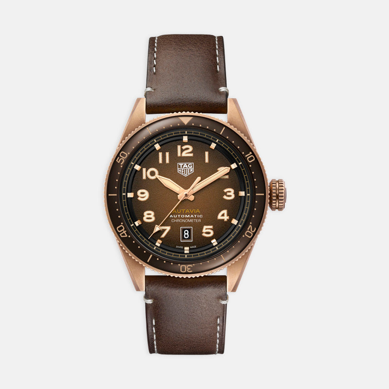 TAG Heuer Autavia<br> 42mm, Brown Bezel Brown Dial<br> Brown Leather Strap