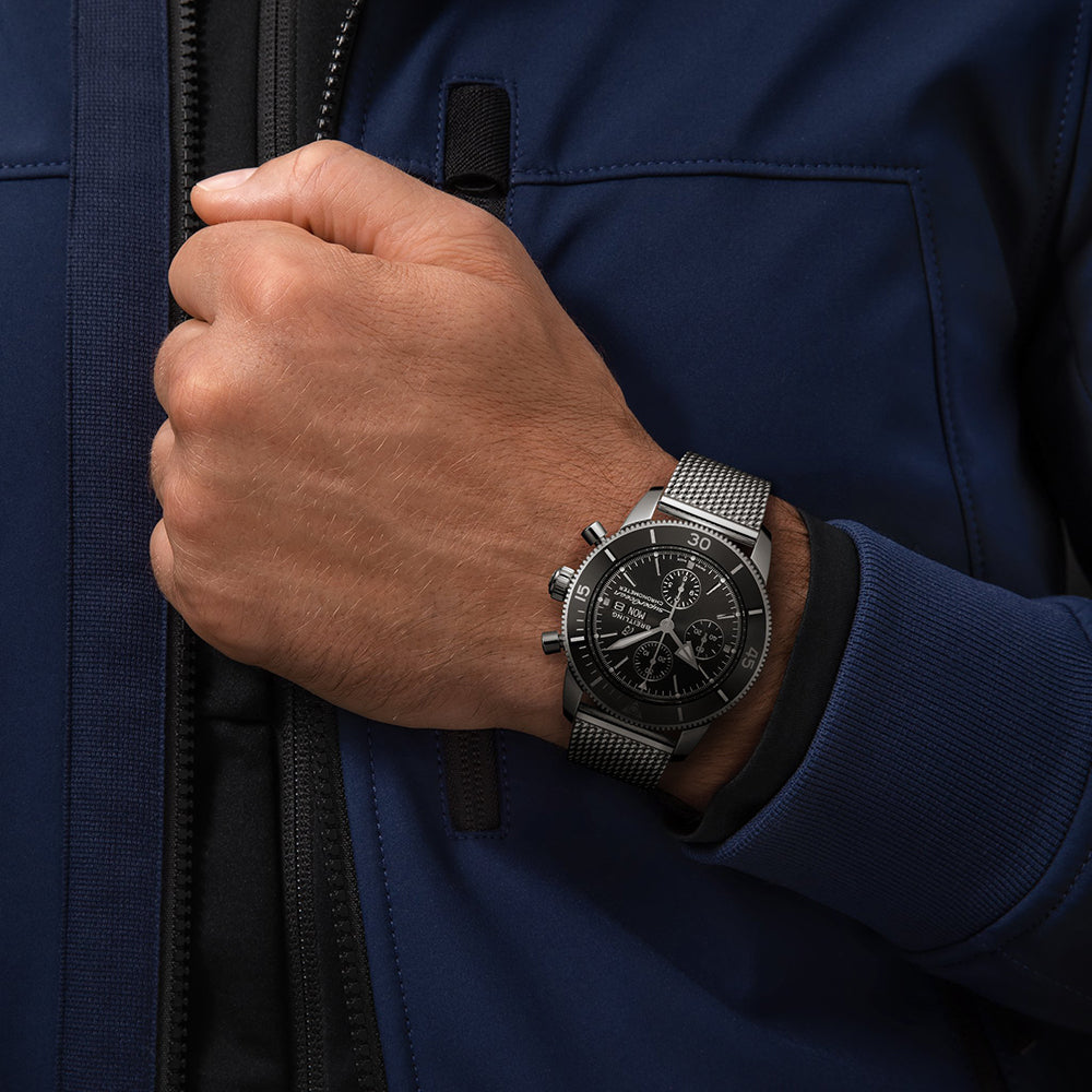 Breitling Superocean Heritage<br>  Chronograph 44, Black Dial<br>  Stainless Steel Mesh Strap