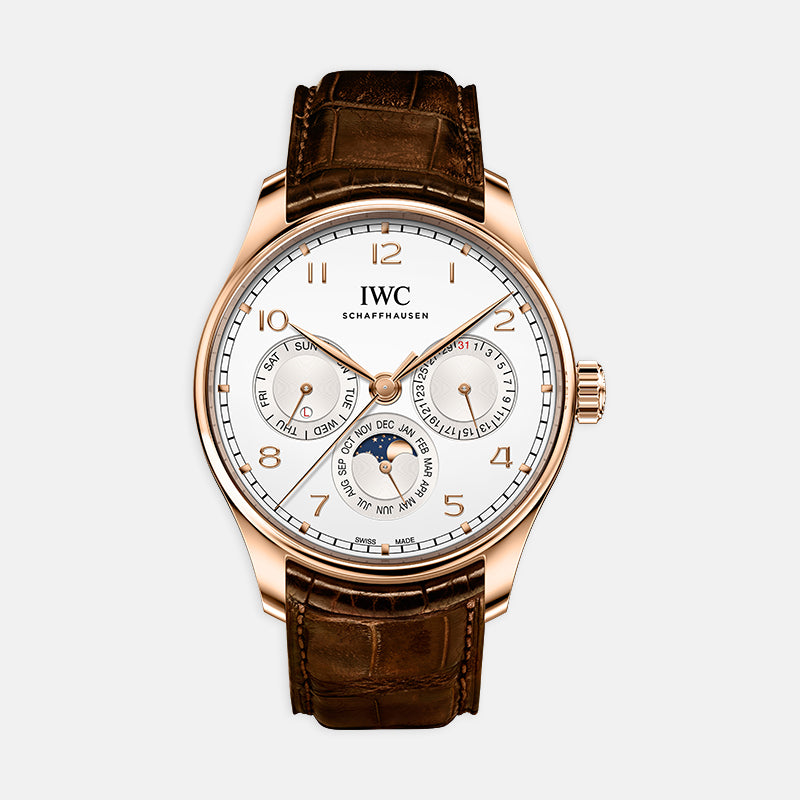 IWC Portugieser Perpetual Calendar<br> 42.4mm White Dial<br> Brown Leather Strap