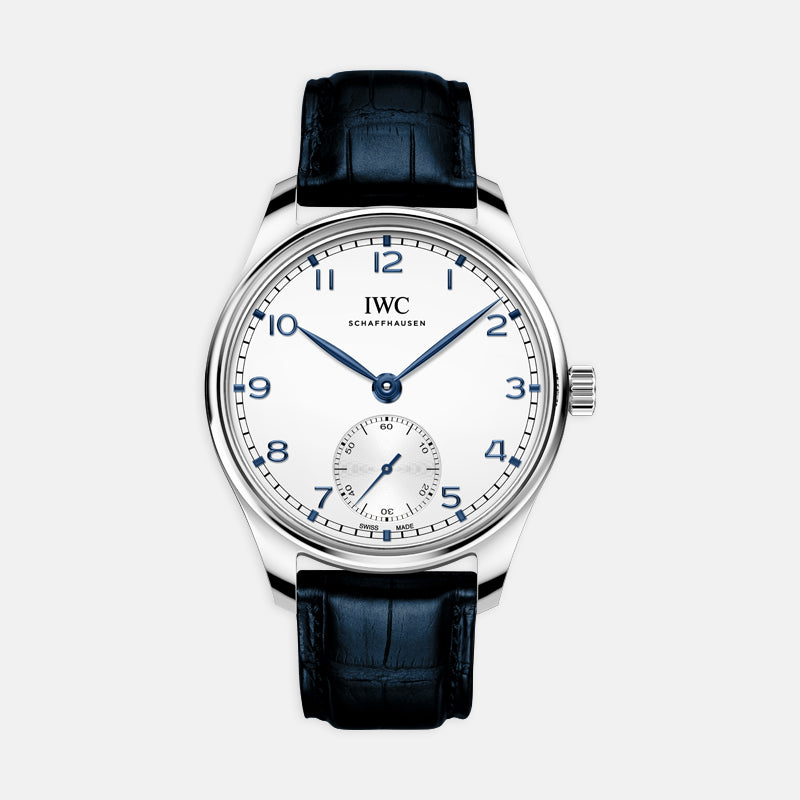 IWC  Portugieser Automatic<br> 40.4mm White Dial<br> Blue Leather Strap