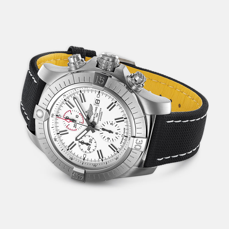 Breitling Super Avenger Chronograph 48<br>  White Dial<br> Anthracite Leather Strap