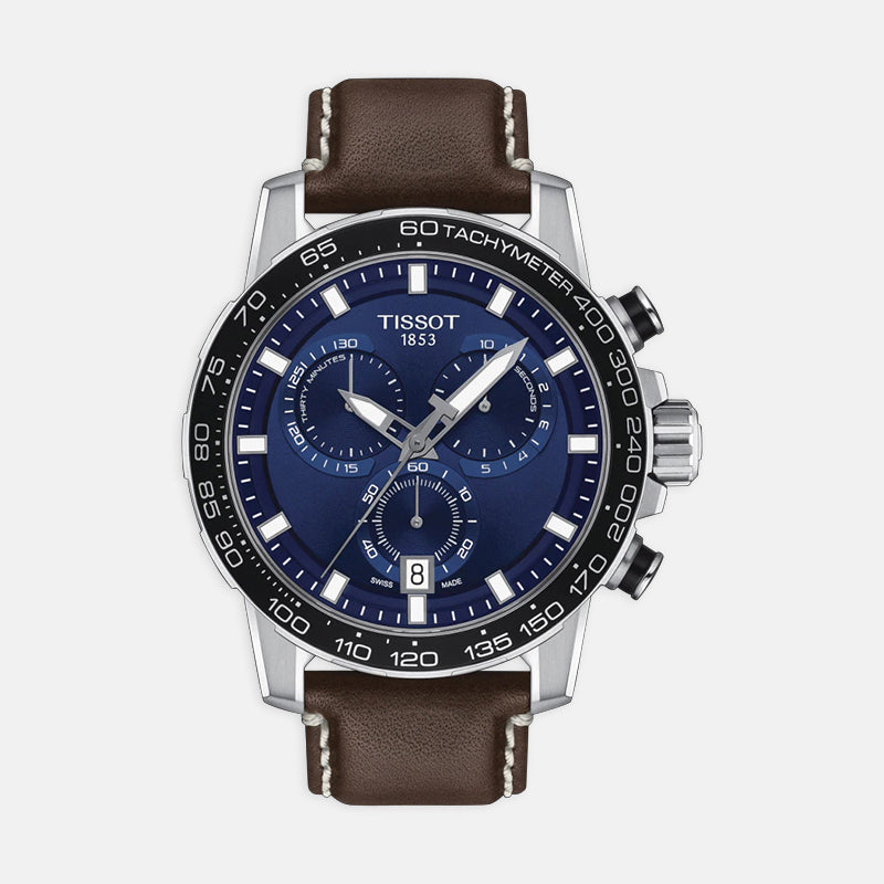 Tissot Supersoft Chrono<br> Blue Dial<br> Brown Leather Strap
