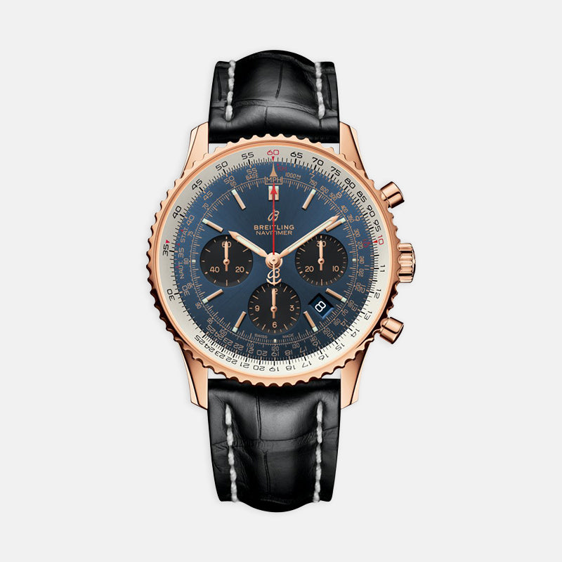Breitling Navitimer B01 Chronograph 43<br> Blue Dial<br> Black Leather Strap