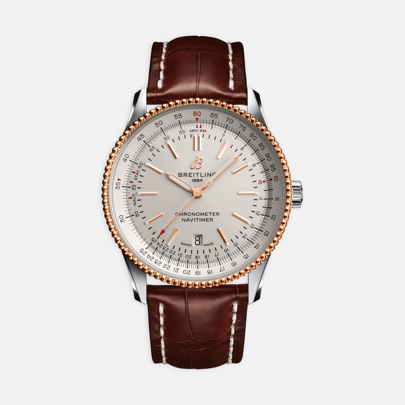 Breitling Navitimer Automatic 41<br> Silver Dial<br> Brown Leather Strap