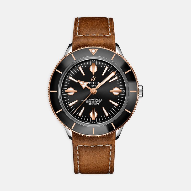 Breitling Superocean Heritage 42<br>  Black Dial <br> Brown Leather Strap