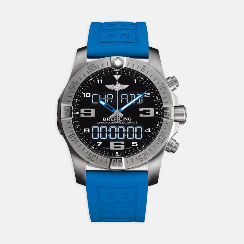 Breitling Exospace B55 46 <br> Black Dial <br> Blue Rubber Strap