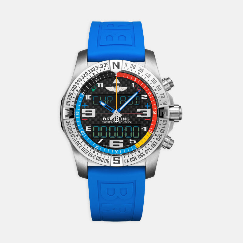 Breitling Exospace B55 Yachting 46 <br> Black Dial <br> Blue Rubber Strap