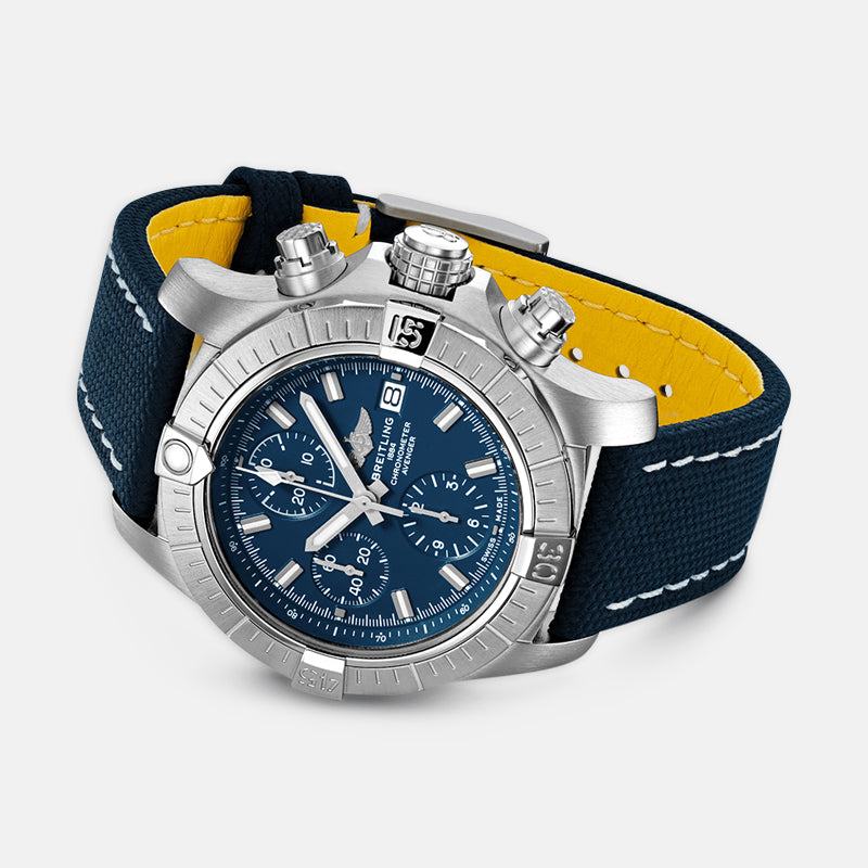 Breitling Avenger Chronograph 43<br> Blue Dial<br> Blue Leather Strap