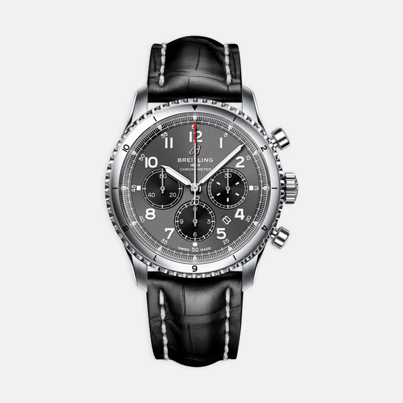 Aviator 8 B01 Chronograph<br>  Back Dial <br> Black Leather Strap
