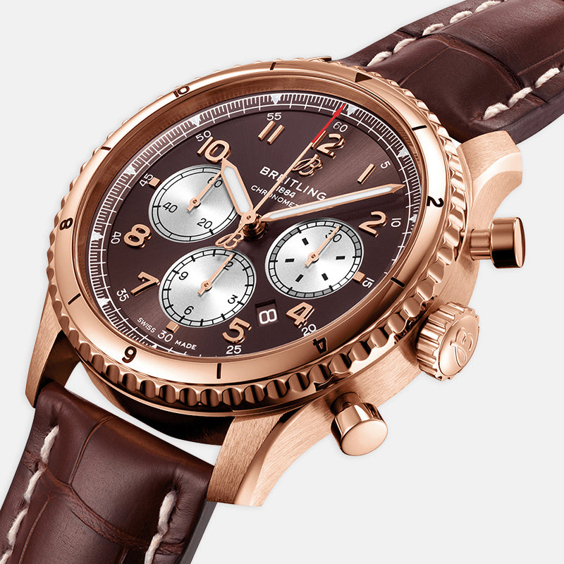 Breitling Aviator 8 B01 Chronograph 43<br> Brown Dial<br> Brown Leather Strap