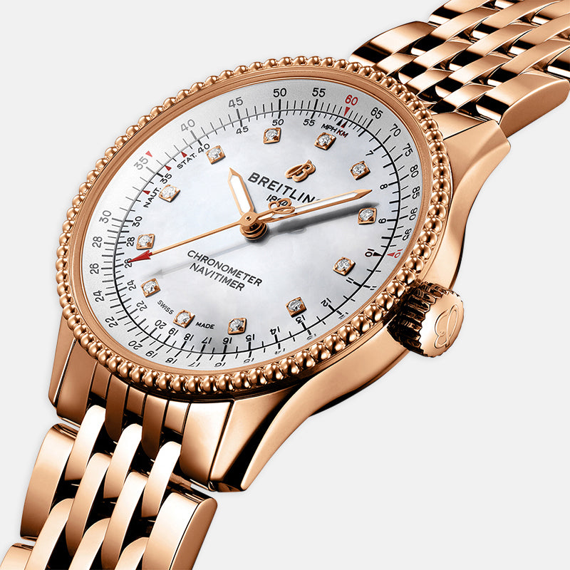 Breitling Navitimer Automatic 35<br> Mother-Of-Pearl Dial<br> 18k Rose Gold Strap