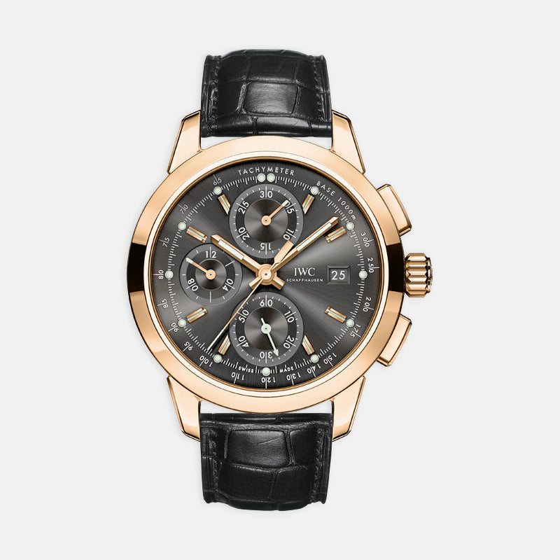 IWC Ingenieur Chronograph<br> 42.3mm Black Dial<br> Black Leather Strap