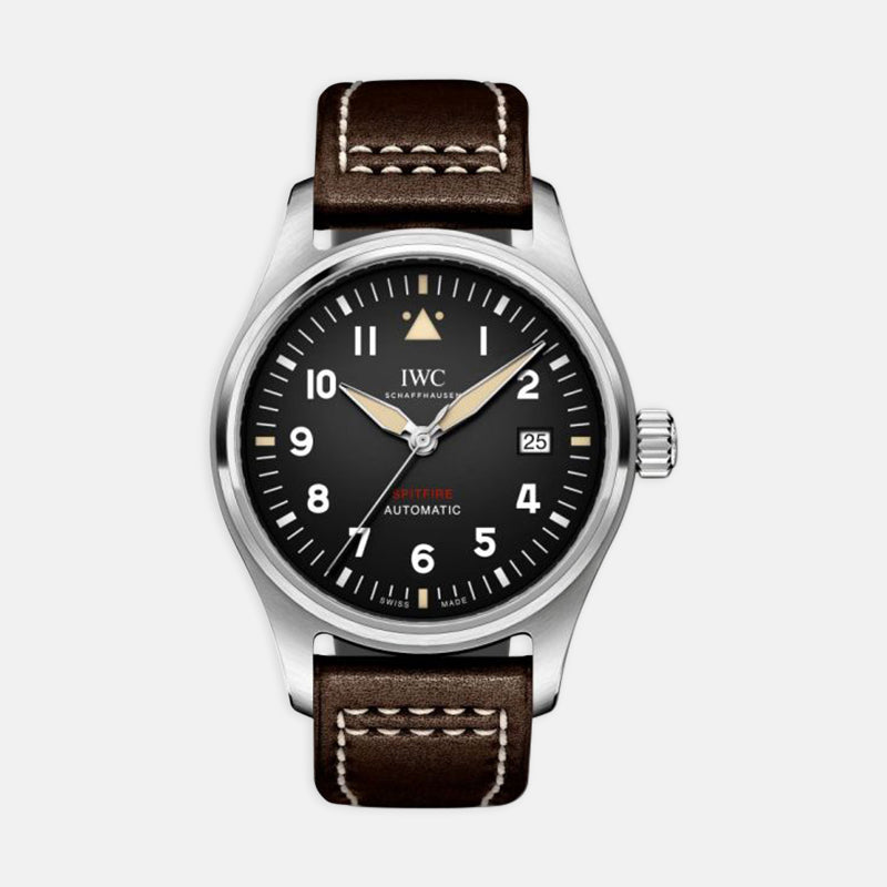 IWC Pilot's Watch Automatic Spitfire<br> 39mm Black Dial<br> Brown Leather Strap