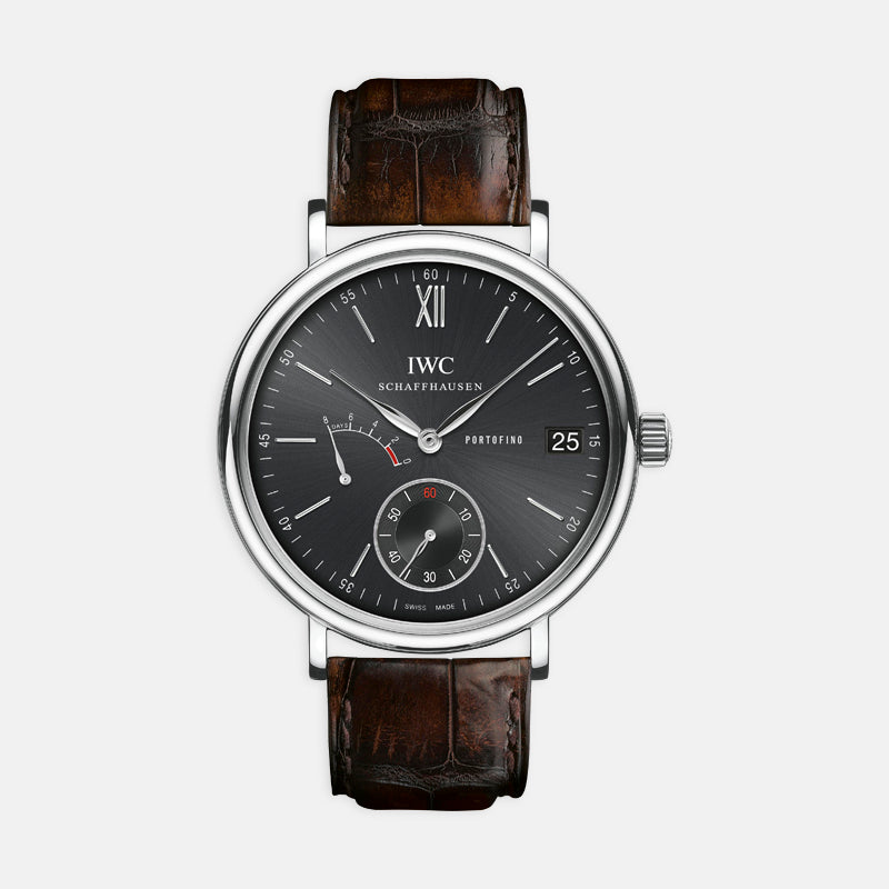 IWC Portofino Handwound Eight Days<br> 45mn Black Dial<br> Black Leather Strap