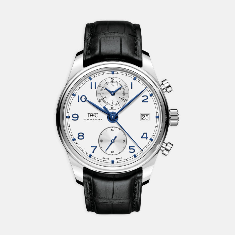 IWC Portugieser Chronograph Classic<br> 42mm White Dial<br> Black Leather Strap