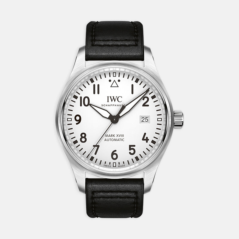 IWC Pilot's Watch Mark XVIII<br> 40mm White Dial<br> Black Leather Strap