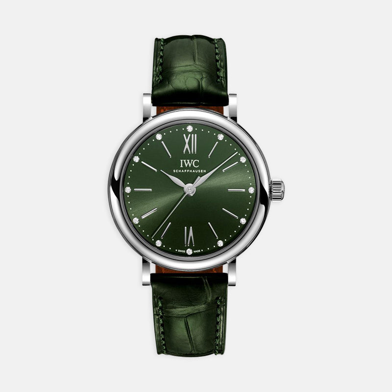 IWC Portofino Automatic<br> 34mm Green Dial<br> Green Leather Bracelet