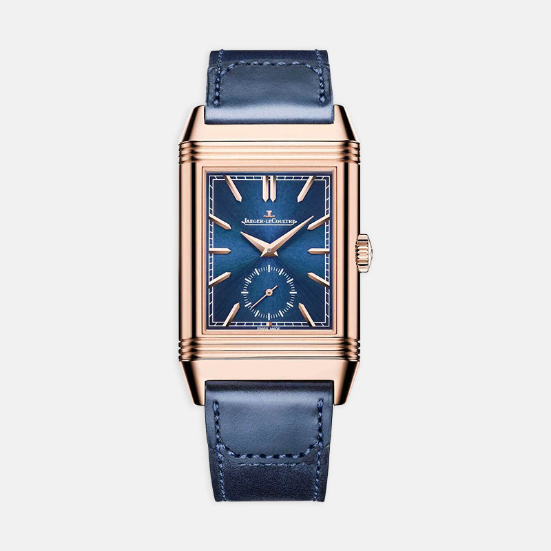 Jaeger-LeCoultre Reverso Tribute <br> Duoface, Blue Dial<br> Blue Leather Strap