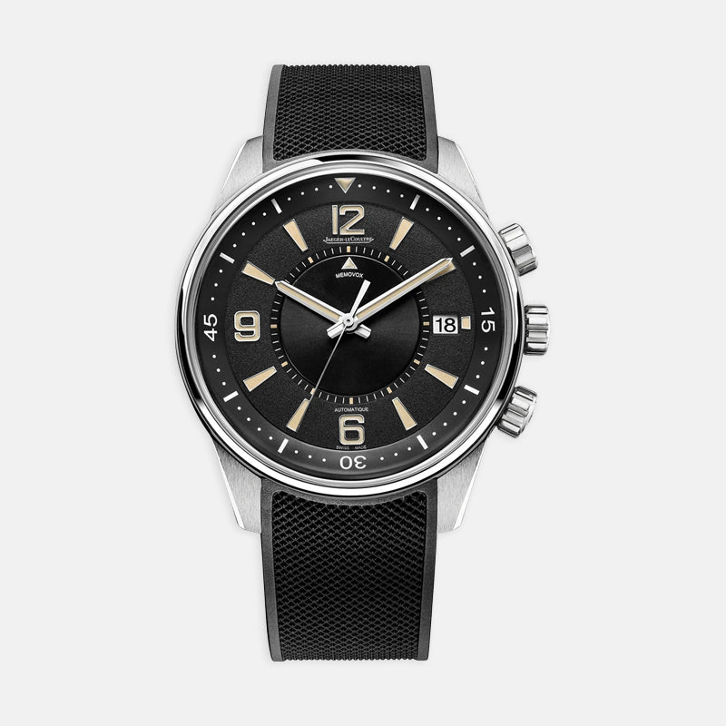 Jaeger-LeCoultre Polaris Memovox <br>  42mm, Black Dial<br>  Black Leather Strap
