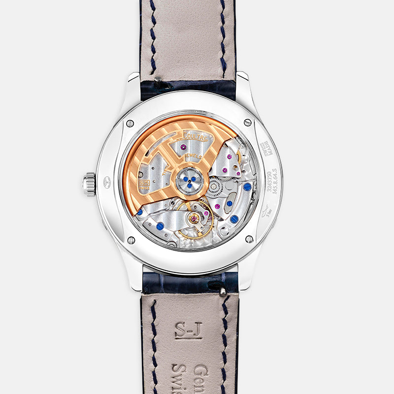 Jaeger-LeCoultre Master Ultra Thin Moon <br> 34mm Diamond Set Silver Dial<br> Blue Leather Strap