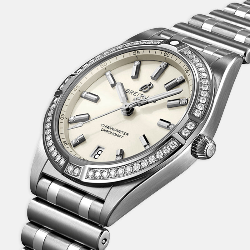 Breitling Chronomat Automatic 32<br> Gem-set White Dial<br> Stainless Steel Bracelet
