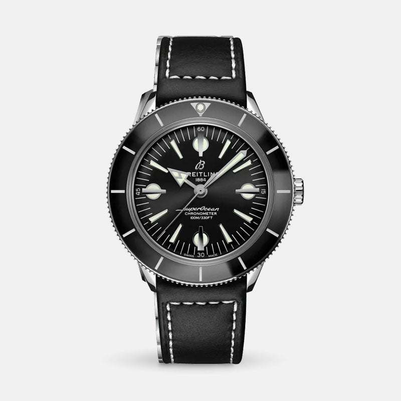 Breitling Superocean Heritage '57<br> Black Dial<br> Black Leather Strap