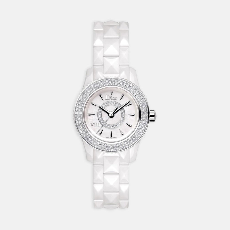 Dior VIII Diamond Bezel <br> Mother of Pearl Dial<br> White Cermaic Bracelet