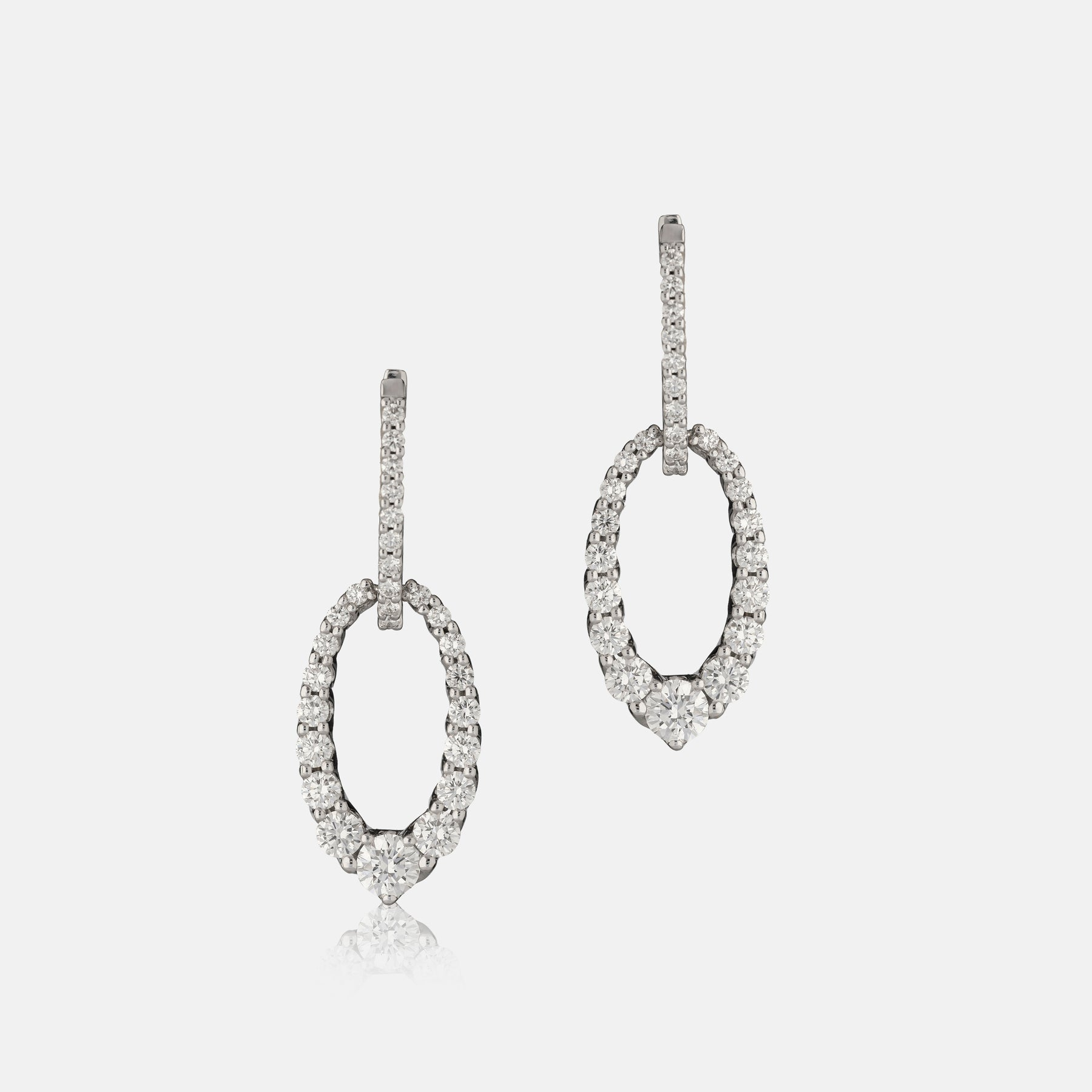 2.42ct Diamond,<br> Small Oval Drop Earrings,<br> 18ct White Gold