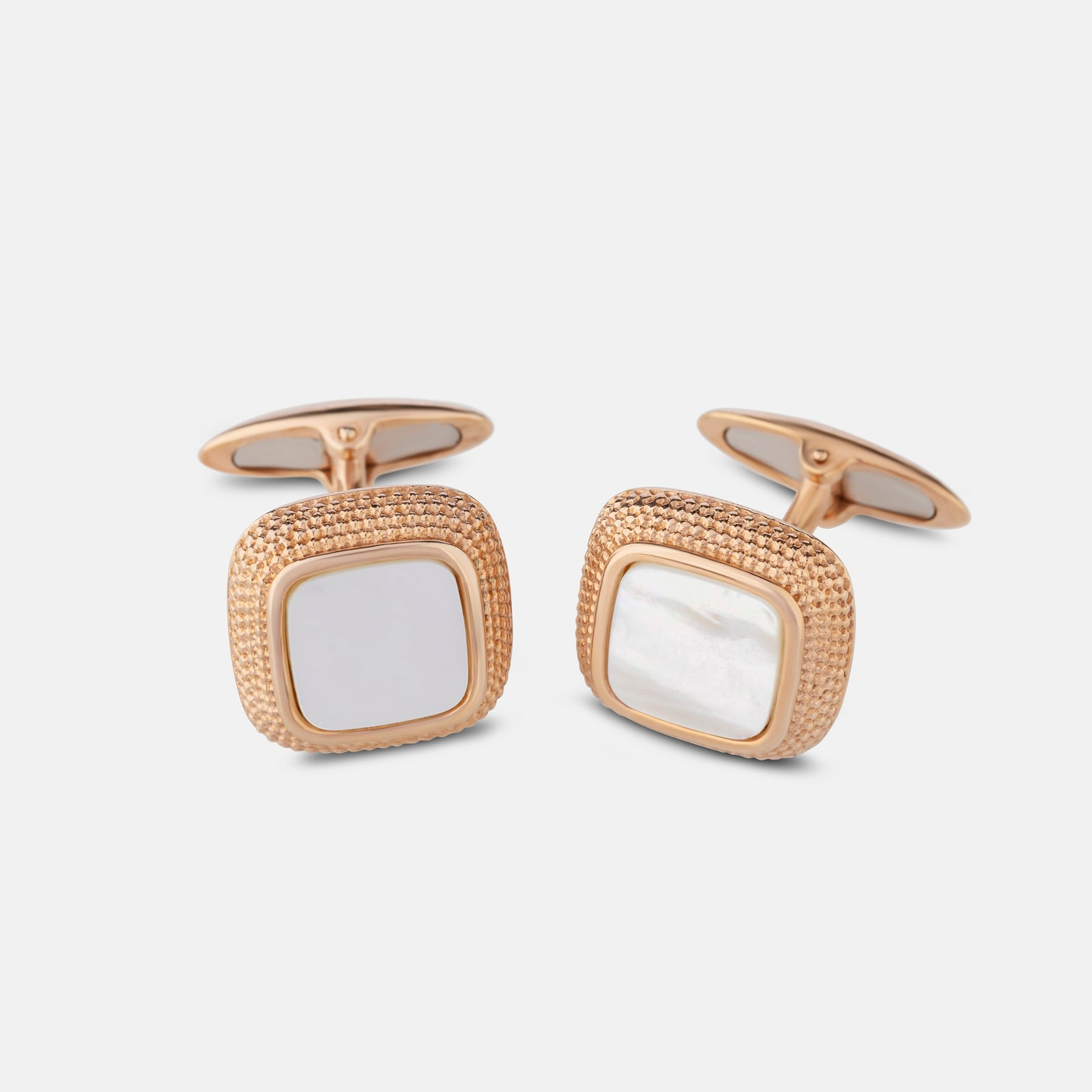 Mother-of-Pearl Stone,<br> Rose Gold Plated Cufflinks