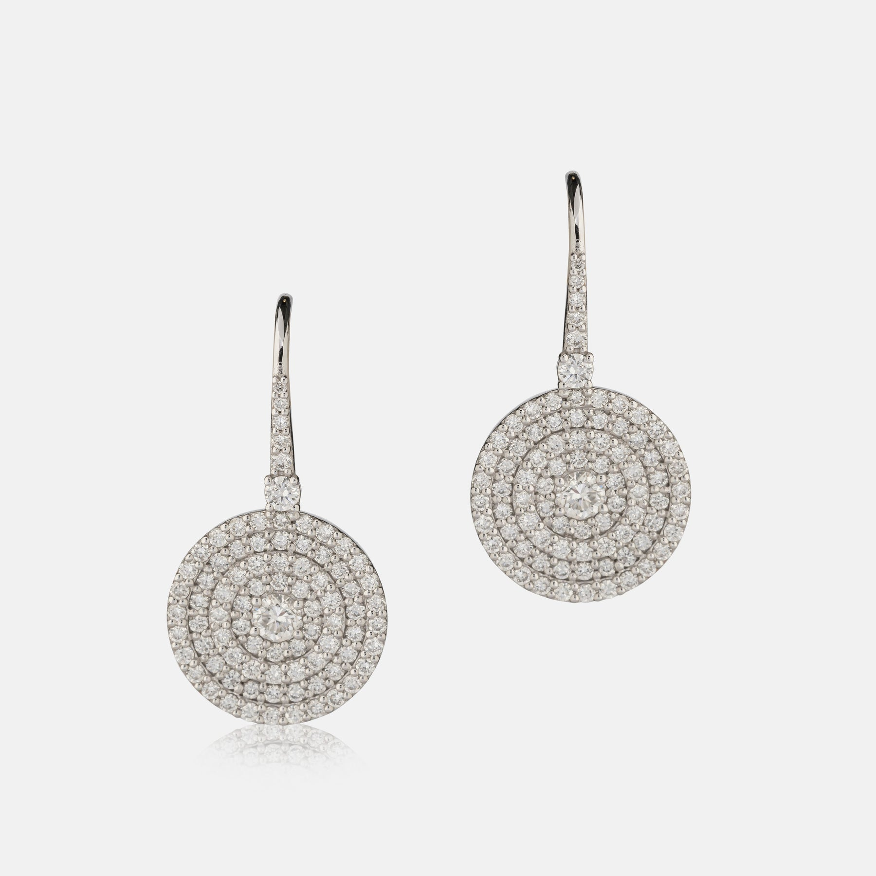 1.47ct Diamond,<br> Pave Circle Earrings,<br> 18ct White Gold