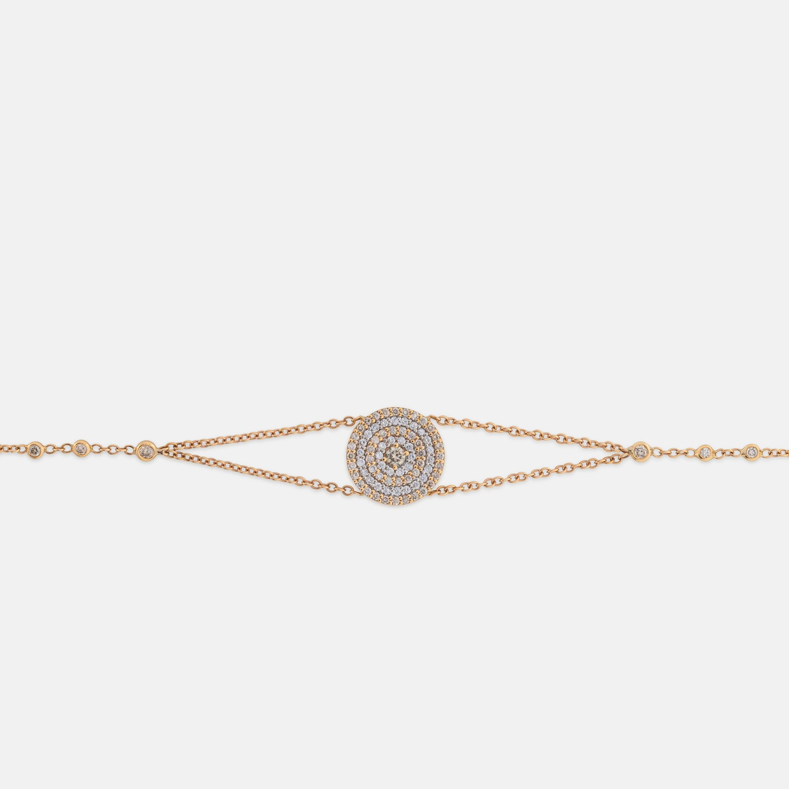 Small Pave Circle Chain Bracelet,<br> 18k White Gold & Rose Gold