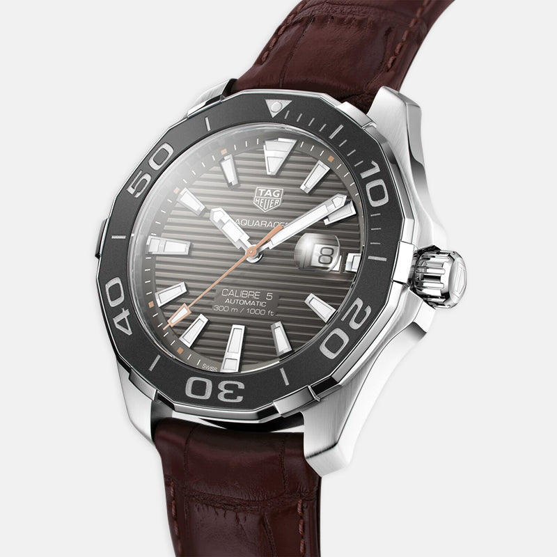 TAG Heuer Aquaracer<br> Quartz 43mm, Grey Dial<br> Brown Leather Strap