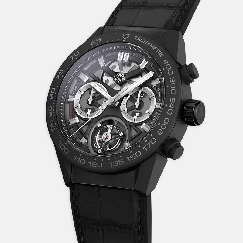 TAG Heuer Carrera<br> 45mm, Black Dial<br> Black Rubber and Alligator Strap
