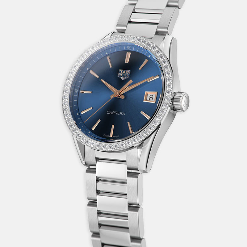 TAG Heuer Carrera<br> Quartz 36mm, Blue Dial<br> Stainless Steel Bracelet