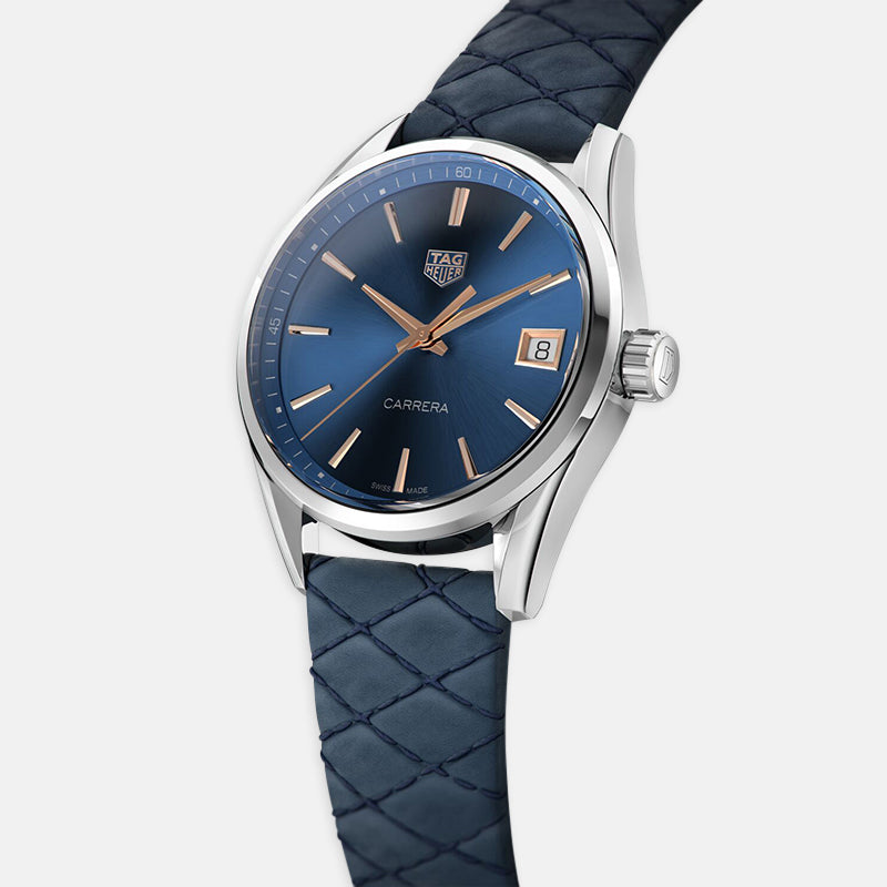 TAG Heuer Carrera Automatic 36mm, Blue Dial Quilted Blue Leather Strap