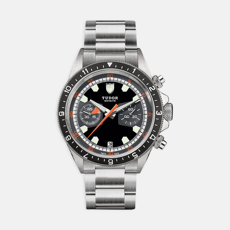 TUDOR Heritage Chrono<br> 42mm Black and Grey Dial  Stainless Steel Bracelet