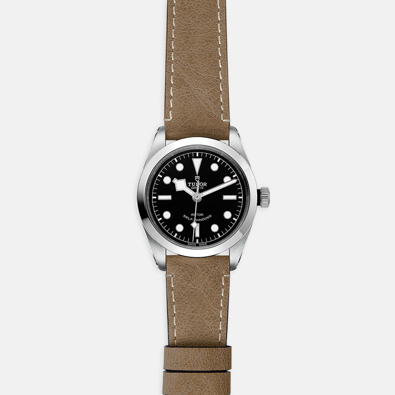 TUDOR Black Bay 36<br> Black Dial<br> Beige Leather Strap